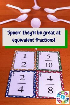 "Want a fun, low-prep equivalent fractions game to use in your math centers tomorrow? Read about how we've put an equivalent fractions twist on the classic ""Spoons"" game and get your FREE equivalent fractions cards to use. 3rd Grade Fractions, Teaching Fractions, Fifth Grade Math, Math Fractions, Teaching Math, Fourth Grade, Third Grade, 5th Grade Math Games, Multiplication Facts"