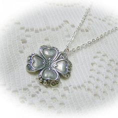 Silver CLOVER Necklace Irish jewelry four by SouthernBelleOOAK, $20.00