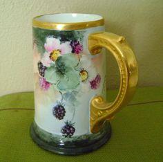 Limoges Handpainted Tankard Mug with Blackberries