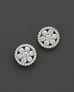 Roberto Coin 18K White Gold Diamond Round Cluster Earrings on shopstyle.com