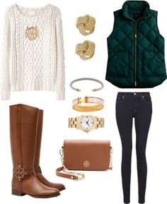 Fisherman sweater, riding boots and vest. Perfect.