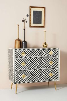 May 2020 - Optical Inlay Three-Drawer Dresser by Anthropologie in Black Size: All, Tables New Furniture, Furniture Makeover, Bedroom Furniture, Furniture Design, Furniture Stores, Dresser Furniture, Furniture Online, Furniture Websites, Furniture Ideas