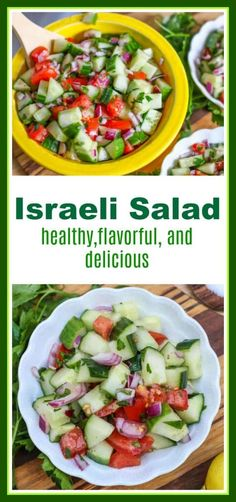Israeli Salad is a delicious, healthy, flavorful Middle Eastern Salad. It is made with fresh tomatoes, cucumbers, onions, mint, parsley, olive oil and lemon juice.