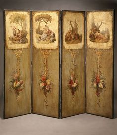1009: Louis XVI style painted canvas four panel screen : Lot 1009
