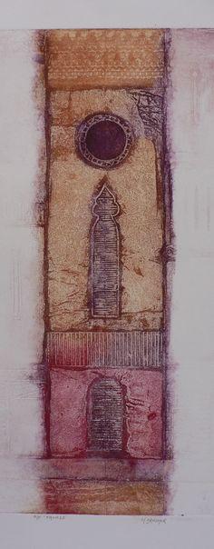 Original hand pulled contemporary intaglio print Facade part