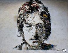 Portraits Made from Old Instruments and Scrap Objects by Christian Pierini Electronic Scrap, Reverse Graffiti, 3d Portrait, Atelier D Art, Celebrity Portraits, Visionary Art, Land Art, John Lennon, Les Oeuvres