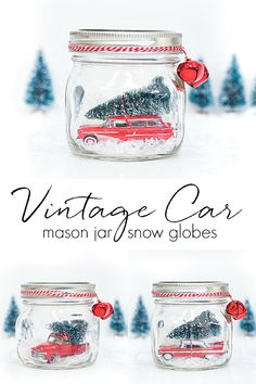 Vintage Wagon Mason Jar Snow Globe - Vintage Truck Mason Jar Snow Globe - Vintage Car Plymouth Mason Jar Snow Globe - Car in Jar Snow Glove