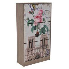 WOODEN 3 DOOR SHOE CABINET 60X24X110 - Showcases - Closets - FURNITURE