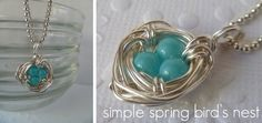 Birds nest necklace, need to figure out how to make this! Jewelry Crafts, Jewelry Ideas, Initial Necklace, Mother Day Gifts, Turquoise Bracelet, Fashion Accessories, Gemstone Rings, Jewelry Design, Jewelry Making