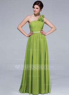 Bridesmaid Dresses - $97.49 - A-Line/Princess One-Shoulder Floor-Length Chiffon Charmeuse Bridesmaid Dress With Ruffle Flower(s) (007037242) http://jjshouse.com/A-Line-Princess-One-Shoulder-Floor-Length-Chiffon-Charmeuse-Bridesmaid-Dress-With-Ruffle-Flower-S-007037242-g37242
