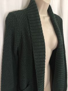 1091116 SILENCE NOISE Anthropologie Green Cardigan M Open Front Knit Sweater Top #SilenceAndNoise #Cardigan #Casual