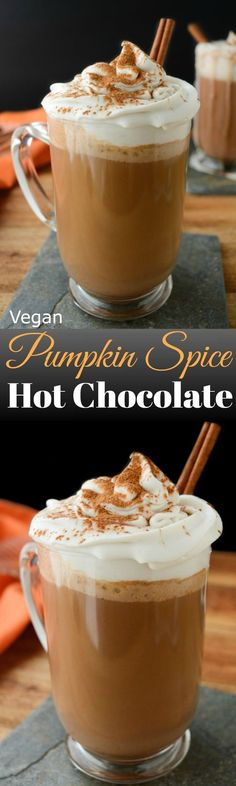 Cozy up this season with Vegan Pumpkin Spice Hot Chocolate! It's made with real pumpkin puree! Make a batch for the family or bring it in the slow cooker to your next holiday gathering. #vegan #pumpkin #dairyfree via @WYGYP
