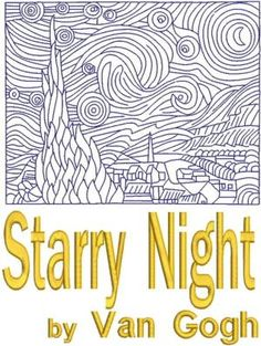 Advanced Embroidery Designs - Starry Night by Vincent van Gogh