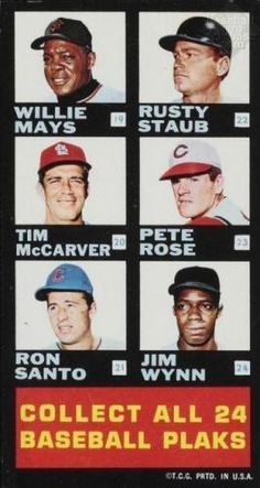Hank Aaron Atlanta Braves / Roberto Clemente Pittsburgh Pirates / Dick Allen Philadelphia Phillies / Tommy Davis Chicago Cubs / Orlando Cepeda Atlanta Braves / Don Drysdale Los Angeles Dodgers / Willie Mays San Francisco Giants / Rusty Staub Houston Astros / Tim McCarver St. Louis Cardinals / Pete Rose Cincinnati Reds / Ron Santo Chicago Cubs / Jimmy Wynn Houston Astros / 1968 Topps Plaks Checklists #2