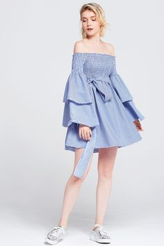 Jessy Gingham Tiered Sleeve Dress Discover the latest fashion trends online at storets.com