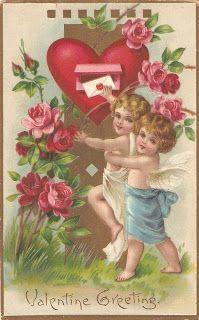 День Святого Валентина. Старинные открытки. Ангелы.