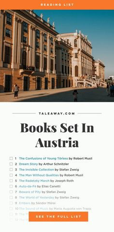 This list of books set in Austria is sweeping; ranging from classics through to contemporary fiction, it includes two Nobel Prize for Literature winners. Book Challenge, Reading Challenge, Literary Travel, Travel Books, Book Club Books, Books To Read, Buy Books, Reading Lists, Book Lists