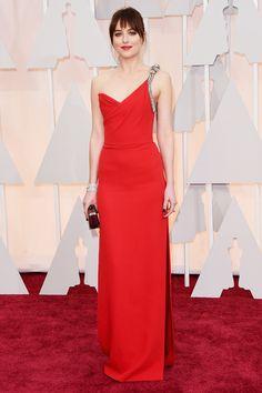 Oscars 2015: Dakota Johnson in  Saint Laurent.