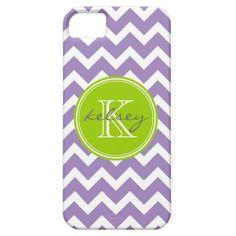 Purple and Green Chevron Custom Monogram iPhone 5 Cases