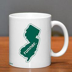 New Jersey Runner Ceramic Mug - Show off your pride for New Jersey with this great New Jersey Runner Ceramic Coffee Mug.