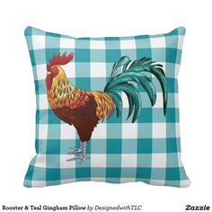 Rooster & Teal Gingham Pillow