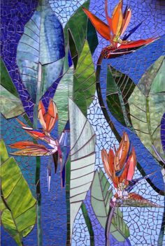 EXTERIOR MOSAIC WALL art stained glass wall decor floral garden indoor outdoor patio art wall hanging made-to-orderbirds of paradise mural by Judith Scallon--read her story!custom mosaic art for the home & garden by ParadiseMosaicsScallonArt website Mosaic Garden Art, Mosaic Tile Art, Mosaic Artwork, Mosaic Glass, Stained Glass, Mosaics, Mosaic Mirrors, Mosaic Birdbath, Mosaic Art Projects