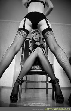 Two girls, BW and stockings