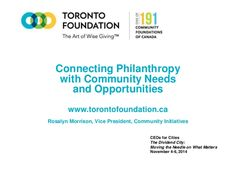 Connecting Philanthropy with Community Needs and Opportunities, by Rosalyn Morrison, Toronto Foundation