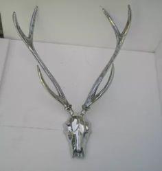 Decorative Metal Wall Mounted Stag Head Skull Antler Deer Buck Sculpture us Stag Head, Fox Hunting, Wall Sculptures, Metal Walls, Antlers, Wall Mount, Cool Art, Deer, Arrow Necklace