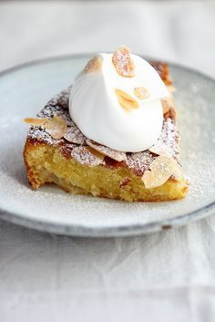 almond pear cake with whipped cream (no recipe)  http://journaldecuisine.tumblr.com/post/100406304319/almond-pear-cake-with-cream-serves-8-preparation