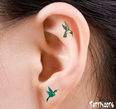 Hummingbirds Temporary 12 Ear Tattoos Finger or Toe by TattNoots
