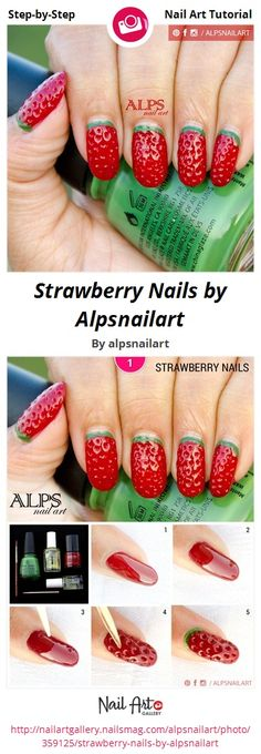 Strawberry Nails by https://www.facebook.com/alpsnailart - Nail Art Gallery Step-by-Step Tutorials nailartgallery.nailsmag.com by Nails Magazine www.nailsmag.com #nailart