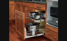 Panier coulissant double en fil chromé pour armoires de cuisine - Rangement pour armoires de cuisine | Accessoires de cuisine