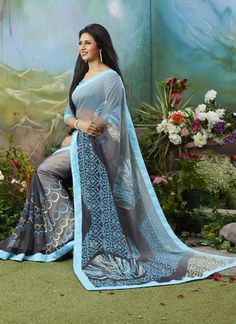 Beautyful Ishita Bhalla Wear Pastle Light Slate Colour Georgette Printed Partywear Saree