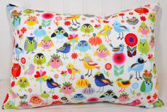 Pillow Cover - 12 x 16 Inches - Owls and Birds