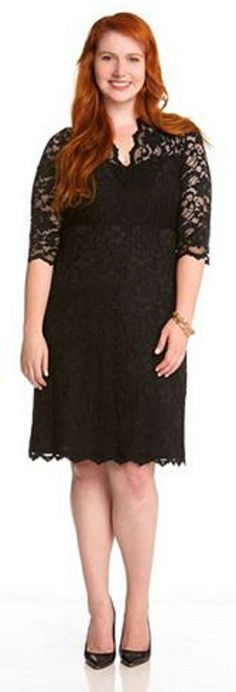 PLUS SIZE V NECK BLACK LACE DRESS Don't be caught without this classic! Inspired by the best selling Karen Kane lace dress, this new style is just in time for the spring season. A deep v neck and scalloped hem provide feminine detail while super stretch lined lace ensures a perfect fit. Pair this classy cocktail dress with jeweled earrings and nude pumps and you are sure to be the best dressed on the guest list. #Plus_Size #LBD #Little_Black_Dress #Karen_Kane