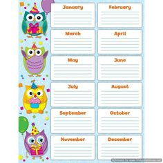 Looking for a Printable Birthday Charts For The Classroom Free. We have Printable Birthday Charts For The Classroom Free and the other about Printable Chart it free. Birthday Chart Classroom, Owl Theme Classroom, Birthday Charts, Classroom Ideas, Classroom Displays, Classroom Organization, Student Birthdays, Starting A Daycare, Carson Dellosa