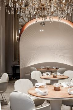 The multi-Michelin-starred French chef has relaunched his restaurant at the Plaza Athénée with a new menu – and a new interior by Jouin Manku.