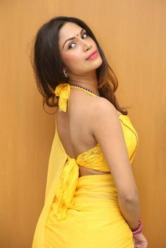 Nishi Ganda Latest Hot Cleveage Spicy Lemon Yellow Transparent Traditional Saree PhotoShoot Images At Tik Talk Movie Motion Poster Launch ★ Desipixer  ★