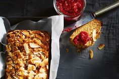 Treat yourself to the ultimate afternoon snack with this golden baked coconut bread served with homemade raspberry and chia jam. Paleo Treats, Healthy Dessert Recipes, Whole Food Recipes, Cooking Recipes, Desserts, Healthy Cook Books, Cake & Co, Cake Tins, Afternoon Snacks