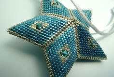 Blue and Silver 5-pointed Star Ornament, Christmas Tree Ornament, Christmas Ornament, Peyote Stitch Silver Christmas Ornament by AutumnStormBeadwork on Etsy