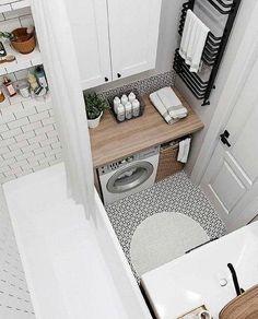 Interior Living Room Design Trends for 2019 - Interior Design Laundry Room Bathroom, Tiny House Bathroom, Laundry Room Design, Bathroom Design Small, Bathroom Interior Design, Interior Design Living Room, Modern Bathroom, Bad Inspiration, Bathroom Inspiration