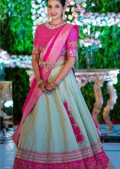 The Most Gorgeous South Indian Lehenga Saree Designs We Spotted! - The Most Gorgeous South Indian Lehenga Saree Designs We Spotted! Lehenga Saree Design, Half Saree Lehenga, Indian Lehenga, Lehenga Designs, Saree Designs Party Wear, Lehanga Saree, Lehnga Dress, Half Saree Designs, Bridal Blouse Designs