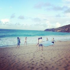 Shooting on the beach in St. Barth.