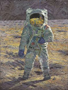 """First Men: Edwin E. 'Buzz' Aldrin"" a new fine art edition and companion to ""First Men: Neil A. Armstrong"" in the series by artist and Apollo 12 astronaut Alan Bean"