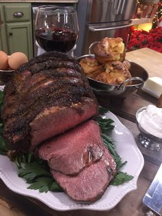 Impress your guests this year with Cristina Ferrare Standing Rib Roast recipe! Tune in to Home and Family weekdays at on Hallmark Channel! Christmas Roast, Christmas Meals, Christmas Dishes, Rib Roast Recipe, Roast Recipes, Snack Recipes, Cooking Recipes, Holiday Foods, Holiday Dinner