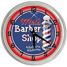 Barber Shop Personalized Red Neon clock from Redeye Laserworks