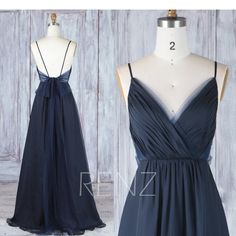 Bridesmaid Dress Navy Blue Chiffon Dress,Wedding Dress,Spaghetti Strap Prom Dress,Ruched V Neck Maxi Dress,Long A-line Party Brautjungfernkleid mit blauem Chiffon- Brautkleid Blue Chiffon Dresses, Navy Blue Bridesmaid Dresses, Straps Prom Dresses, Spaghetti Strap Dresses, Spaghetti Straps, Bridesmaid Ideas, Sequin Bridesmaid, Silk Chiffon, Navy Blue Gown