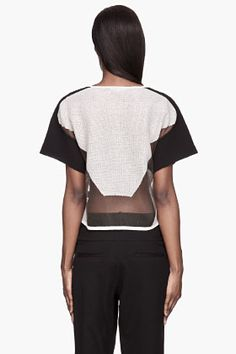 HELMUT LANG Grey knit Transparent Grid t-shirt