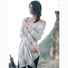 30 OFF SALE Stripes cardigan cream and stone grey by AndyVeEirn